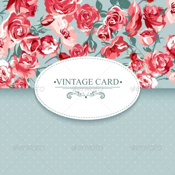 GraphicRiver Elegance Vintage Floral Card with Roses 7894782