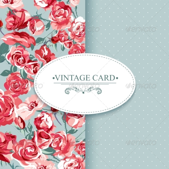 GraphicRiver Elegance Vintage Floral Card with Roses 7894794