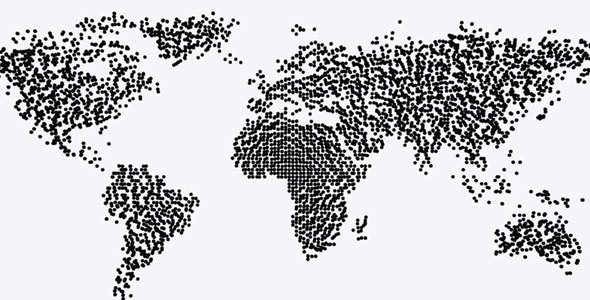 World Map Particle Formation Black & White