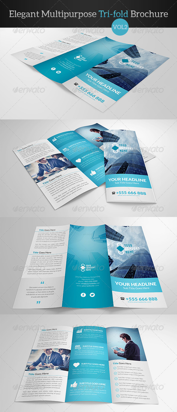 GraphicRiver Elegant Multipurpose Trifold Brochure Vol 2 7894685