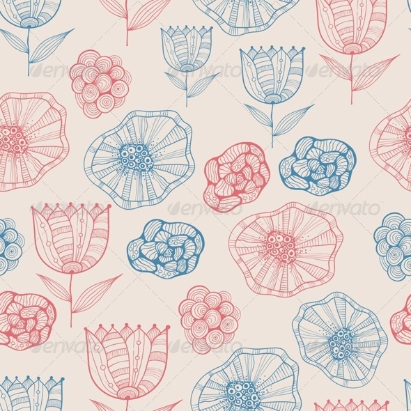 GraphicRiver Seamless Doodle Floral Pattern 7896049