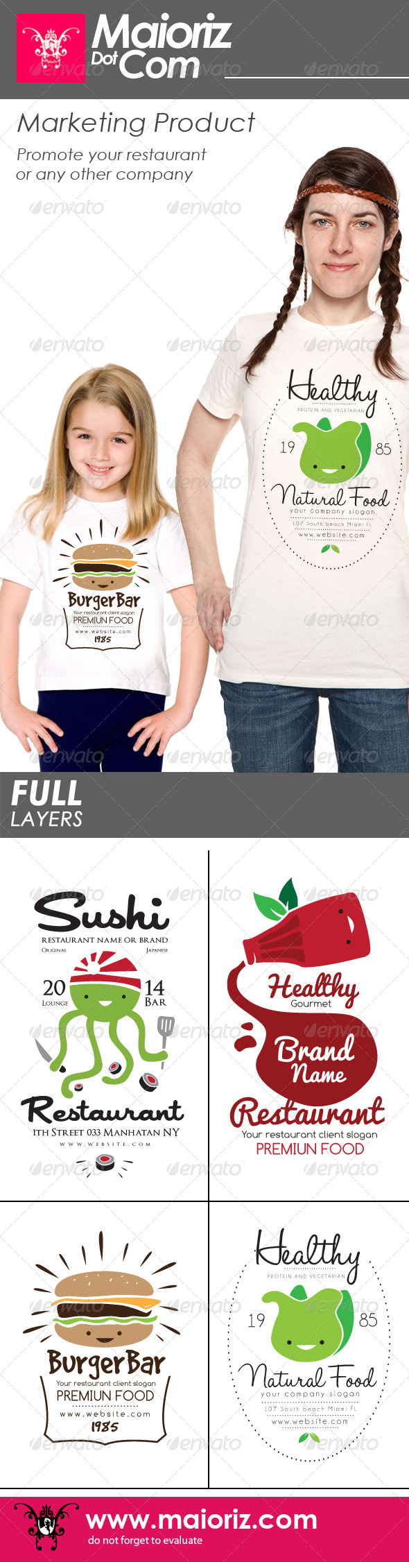 GraphicRiver Restaurant Tshirt Pack V1 7895601