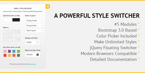 CodeCanyon DMSS Bootstrap jQuery Style Switcher 7896314