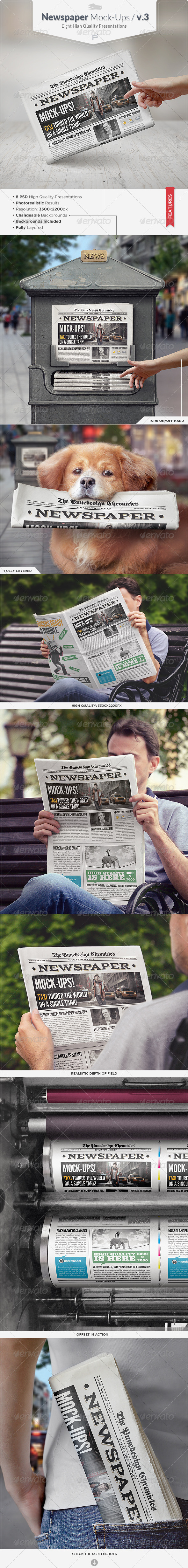 Newspaper Mock-Ups / v.3. - Miscellaneous Print