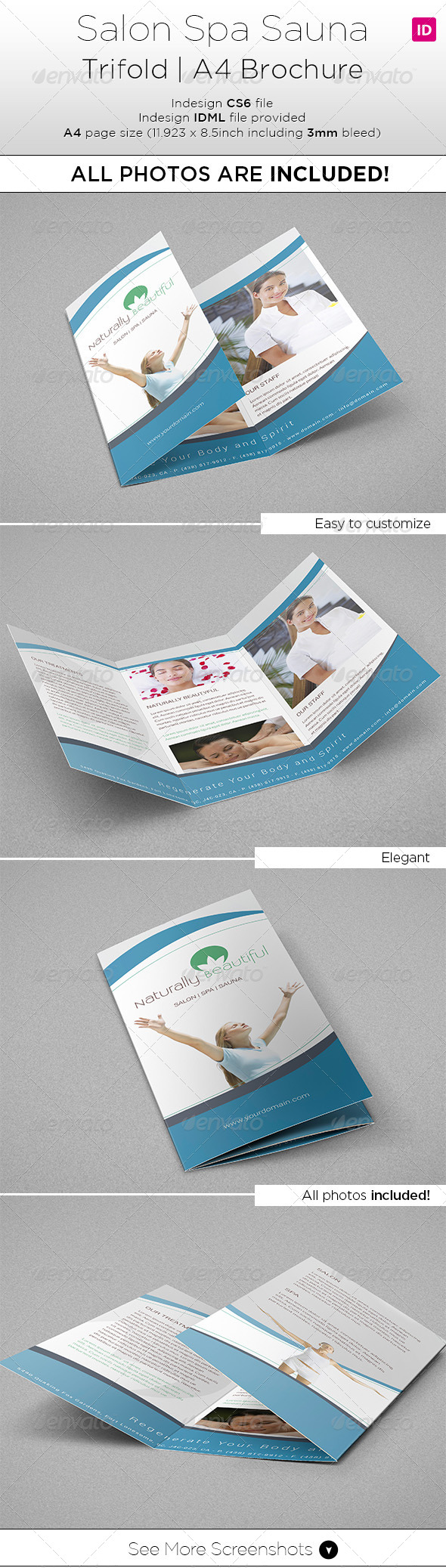 Salon Spa Trifold A4 Brochure All Photo Included