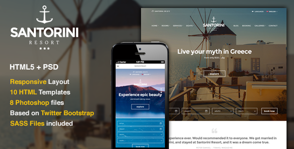 Santorini Resort - Responsive Hotel Template - Travel Retail