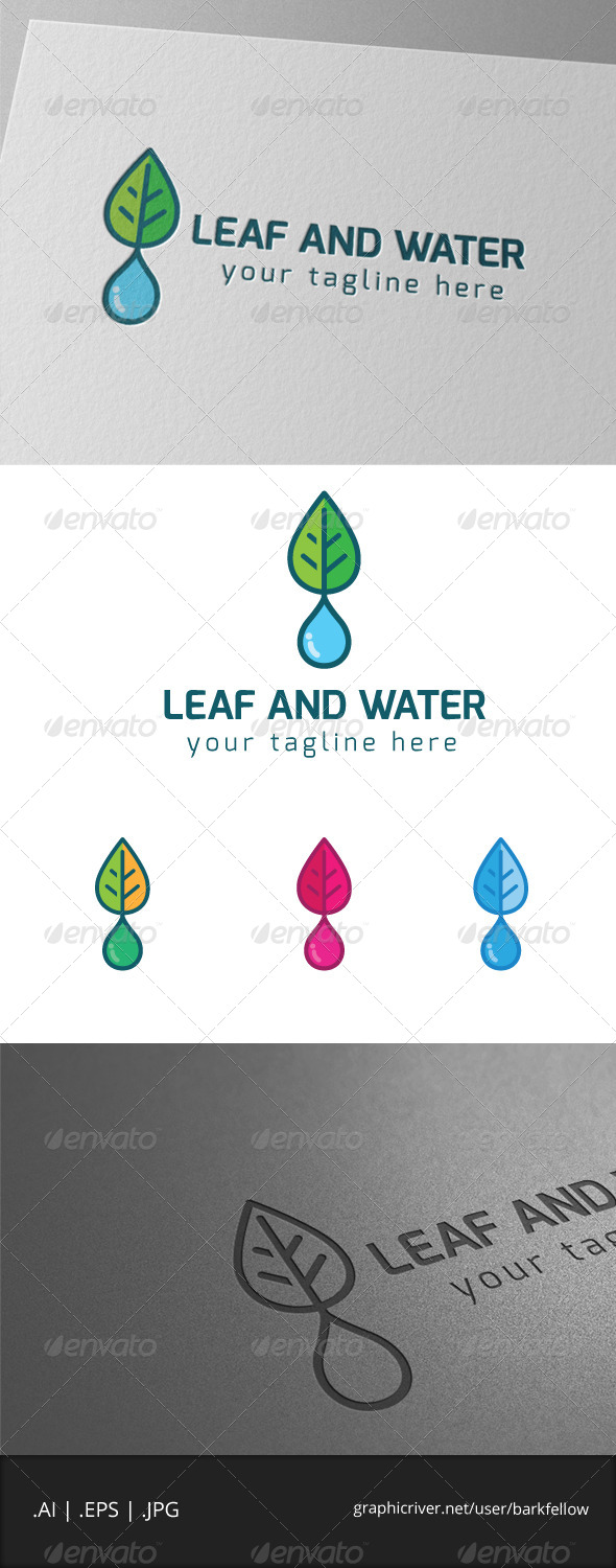 GraphicRiver Green Leaf and Fresh Water Logo 7897541