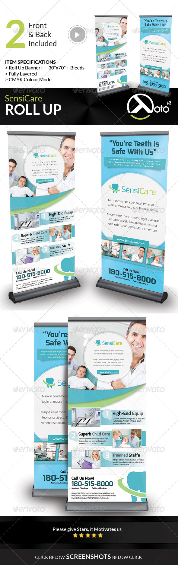 SensiCare Medical Dental Health Roll Up