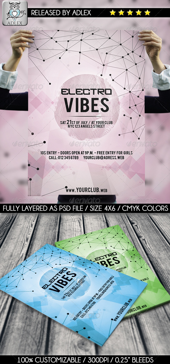 GraphicRiver Electro Vibes Geometric Flyer 7899935