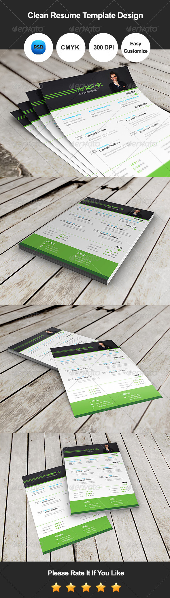 GraphicRiver Clean Resume Template Design 7785167