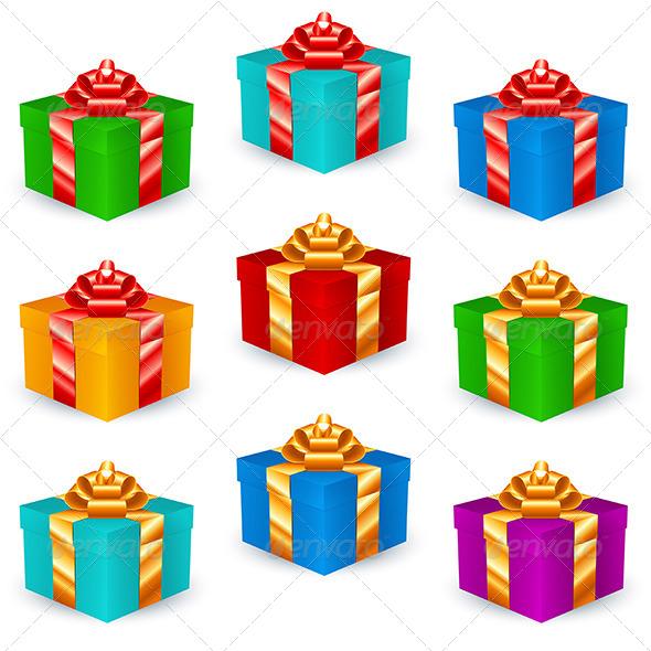 GraphicRiver Square Gift Boxes Multicolor 7900671