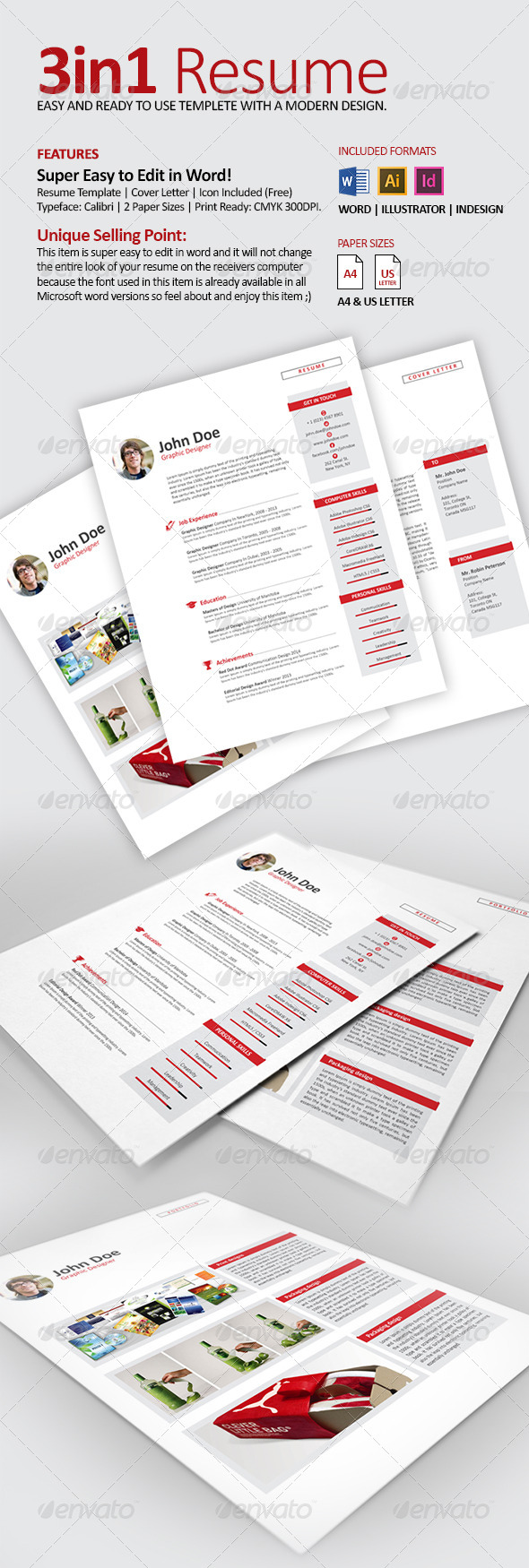 GraphicRiver 3in1 Clean Resume CV with Word Files 7896214