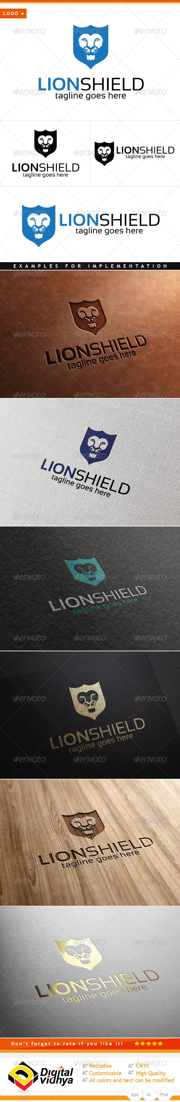 Lion & Shield Logo - Animals Logo Templates