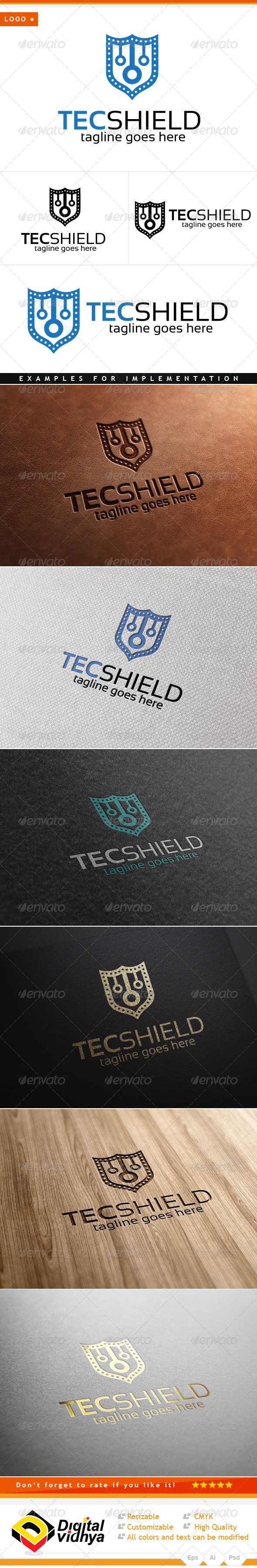 Technology & Shield Logo - Symbols Logo Templates