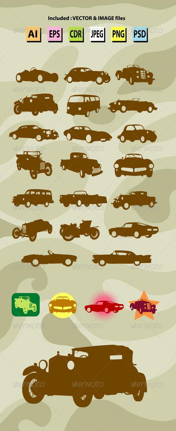 GraphicRiver Classic Car Silhouettes 7901864