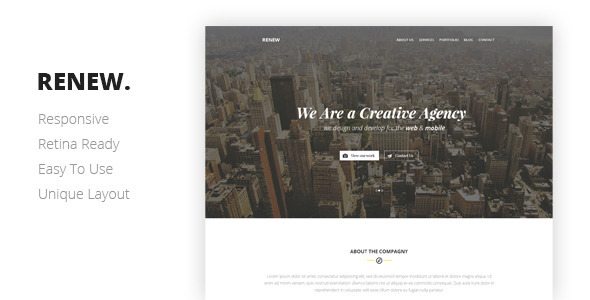 RENEW Creative One Page Template - Creative Site Templates