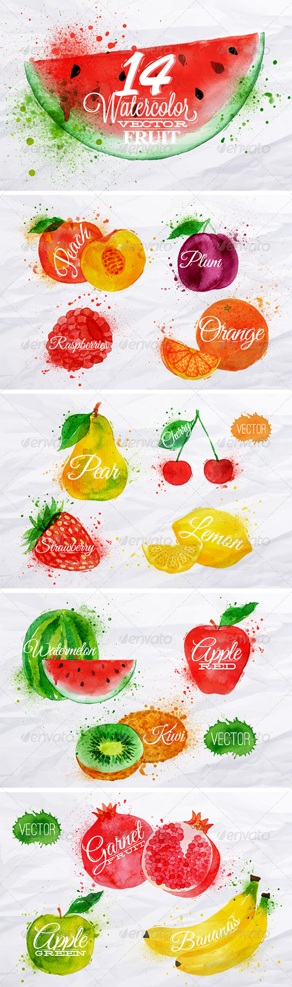 GraphicRiver Fruit Watercolor 7901978