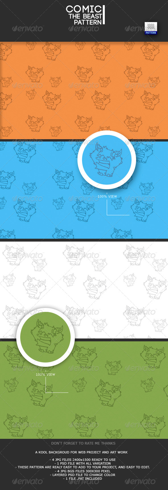 GraphicRiver Comic the Beast Pattern 7901999