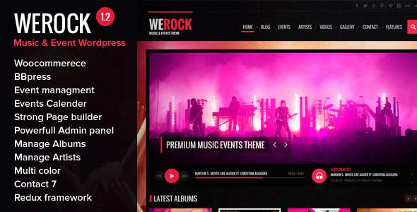 WeRock is Wordpress theme based on bootstrap 3 and redux admin framwork. It comes with dozens of features: Powerful admin panel Page Builder Woo-commerce bbPre
