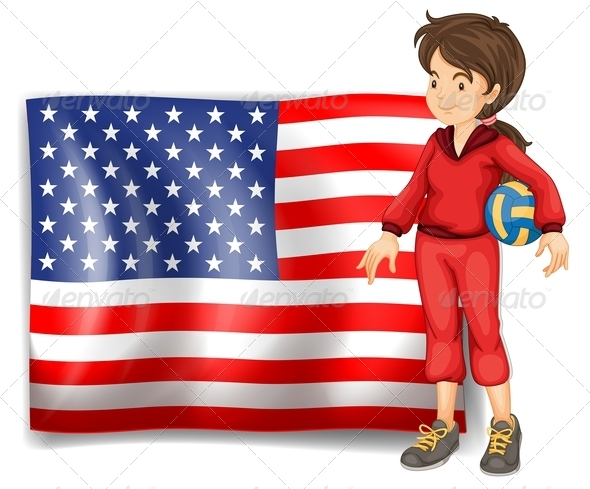 Sporty Girl and USA Flag