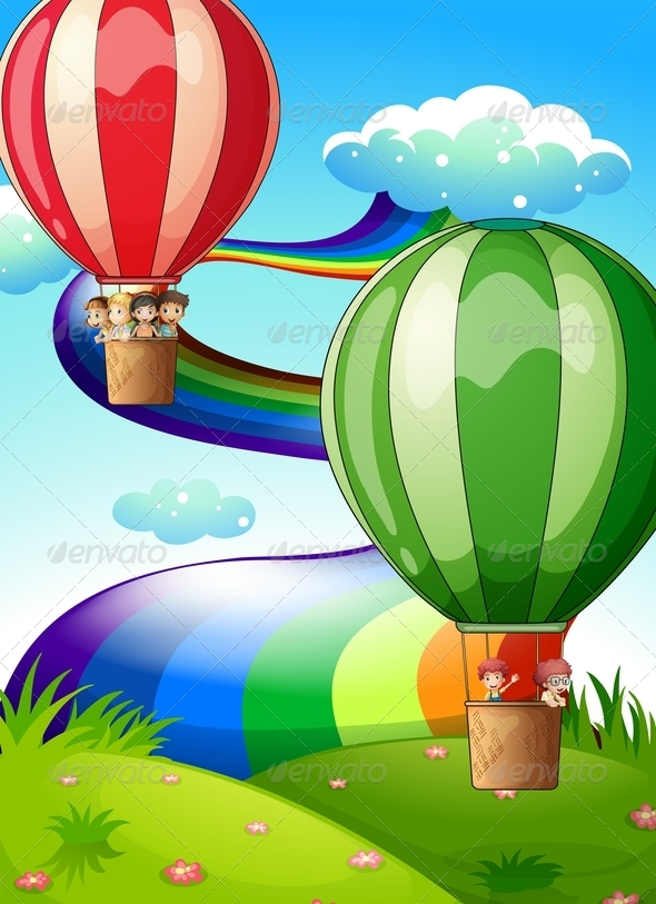 GraphicRiver Floating Balloons with Kids 7902199