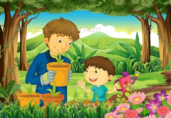 GraphicRiver Father and Son Gardening 7902359