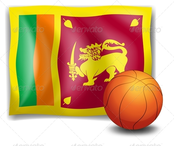 Basketball with Flag of Sri Lanka