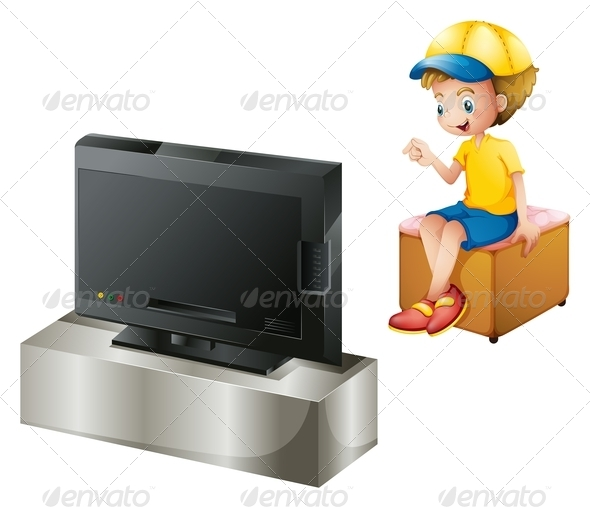 GraphicRiver Boy Watching TV 7902634