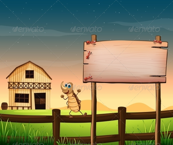 GraphicRiver Empty Signboard with Bugs and Farm 7902645