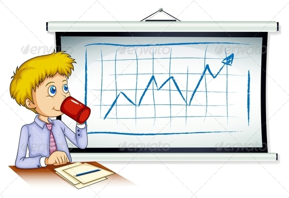 GraphicRiver Man Drinking Coffee with Chart 7902688