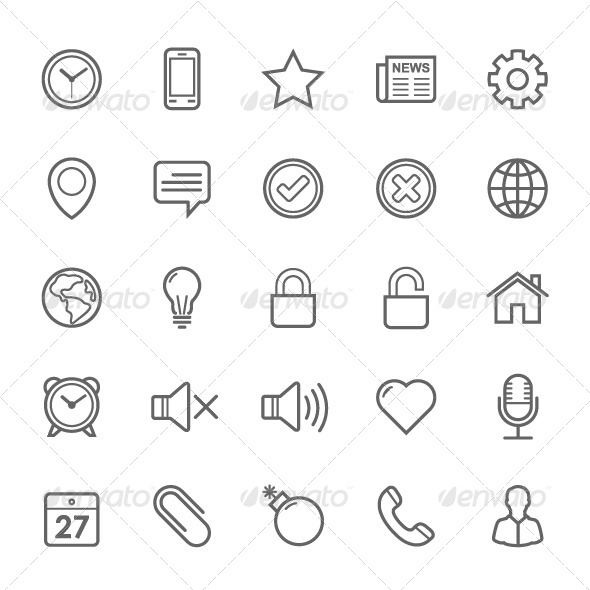 GraphicRiver 25 Outline Stroke General Icons 7902698