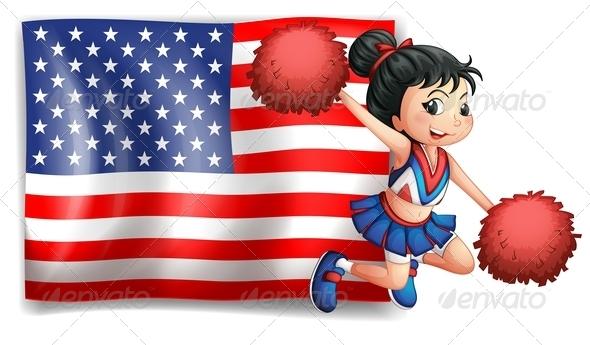 Cheerleader with USA Flag