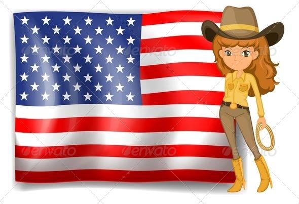 Cowgirl and USA Flag