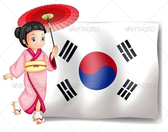Girl with South Korean Flag