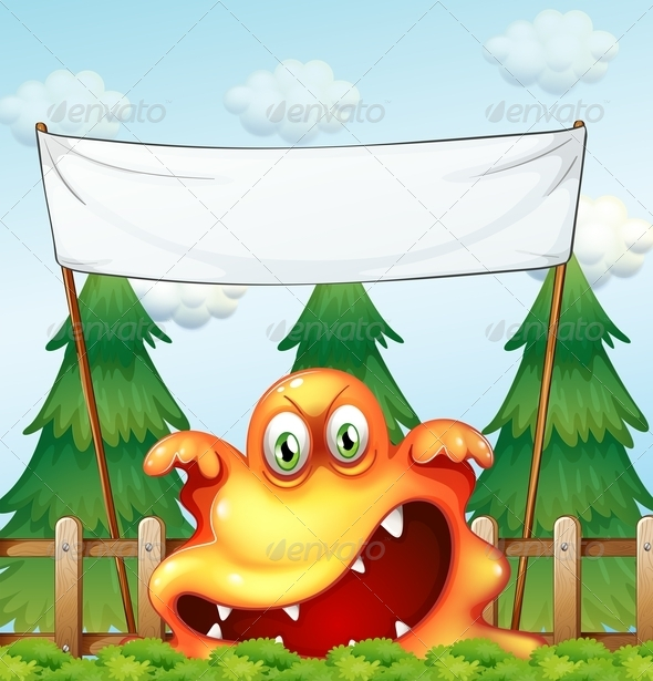 GraphicRiver Angry Monster with Empty Banner 7902941