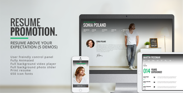 Promotion - Animated CV Resume Theme - Personal Blog / Magazine