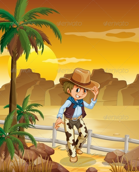 GraphicRiver Young Cowboy in the Desert 7902943