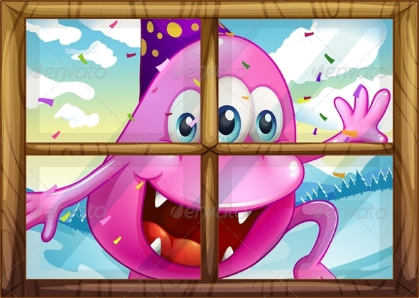 GraphicRiver Party Monster at the Window 7902969