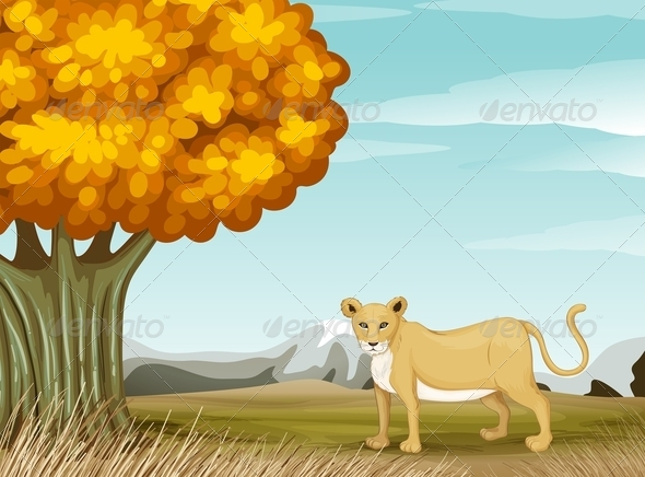 GraphicRiver Lioness Near a Tree 7902974
