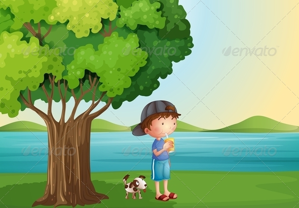 Boy and Dog Under a Tree