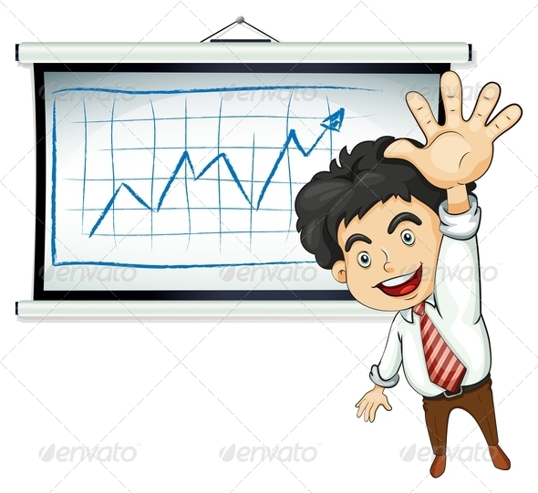 Happy Businessman with Chart