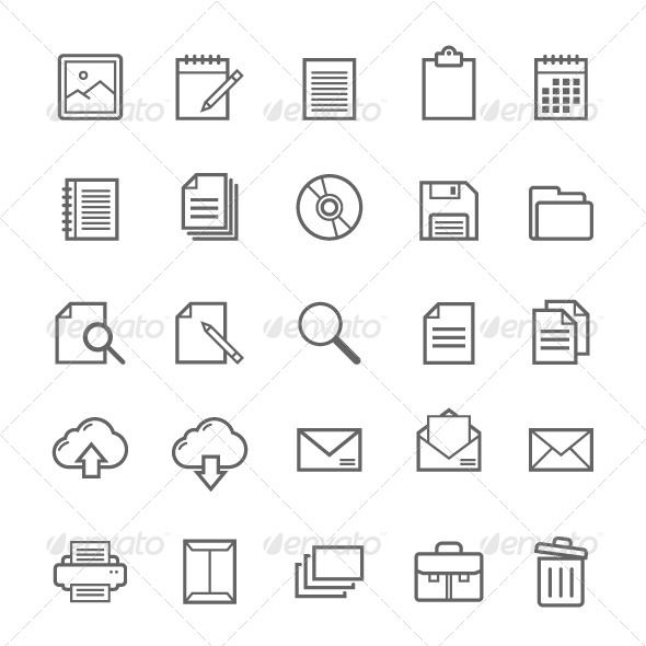GraphicRiver 25 Outline Stroke Document Icons 7903120