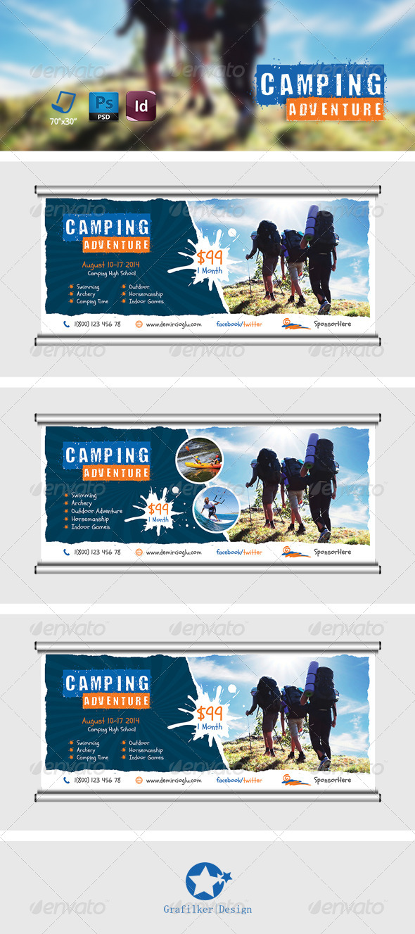 GraphicRiver Camping Adventure Billboard Templates 7903295