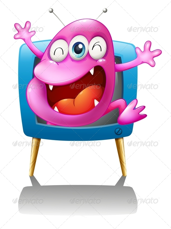 GraphicRiver Blue TV with Pink Monster 7903695