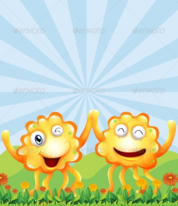 GraphicRiver Happy Monsters on the Field 7903712