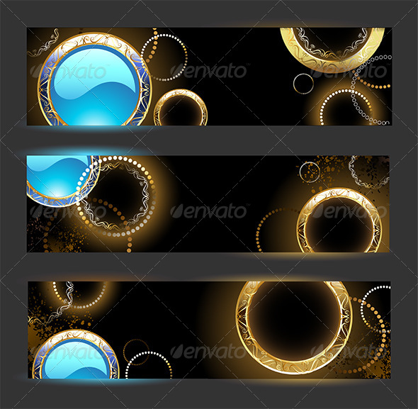 GraphicRiver Banners with Golden Rings 7845285