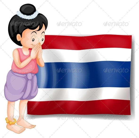 Thai Girl in Front of Thailand Flag