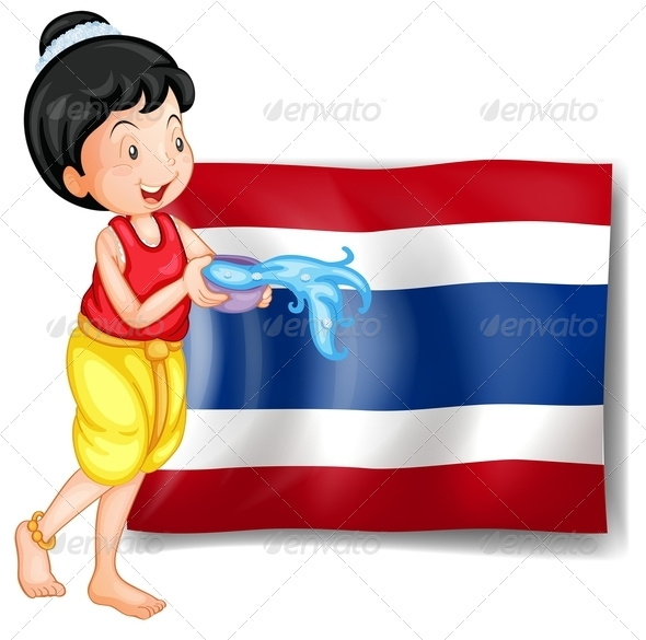 GraphicRiver Thai Woman in front of Thailand Flag 7903824