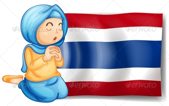 Muslim woman with Thailand Flag