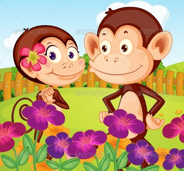 GraphicRiver Two Monkeys in the Garden 7903876